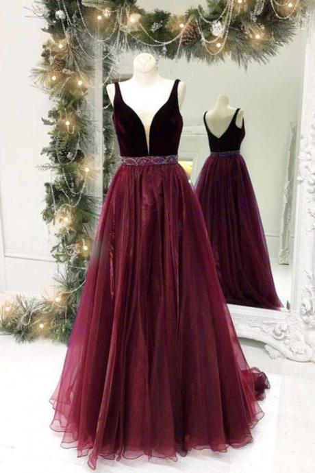 Simple Plum Satin Long Side Slit Prom Dresses