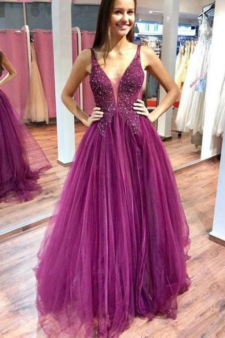 A Line Purple Tulle Beading Long Prom Dresses with Appliques