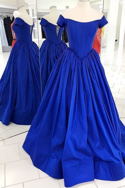 Off the Shoulder Royal Blue Prom Dress with Lace up Back