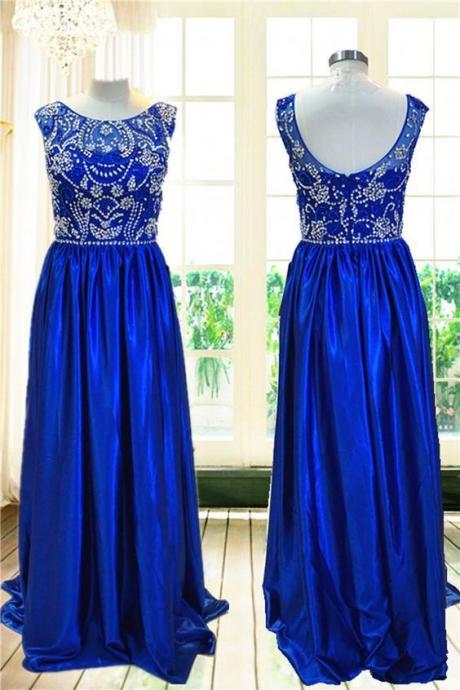 A-line Backless Prom Dress,Blue Prom Dresses,Long Evening Dress
