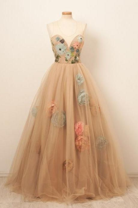 Beautiful Prom Dresses Scoop A-line Hand-Made Flower Long Chic Prom Dress