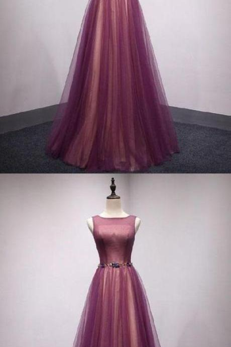 Prom Dresses Simple, Long tulle Prom Dresses ,strapless,