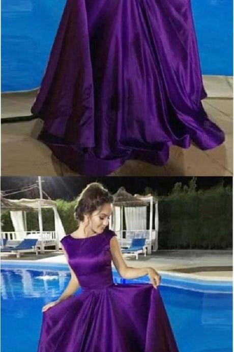 Purple Prom Dress A-Line Round Neck Open Back Purple Satin Long Prom Dress,