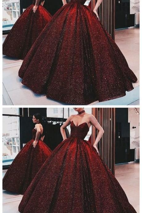 Ball Gown Wine Red Sequin Floor-Length Burgundy Quinceanera Dress Sweet 16 Dresses for Girls