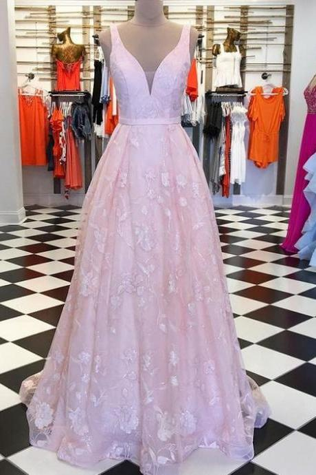 V-neck Pink Lace Pleated Long Prom Dress