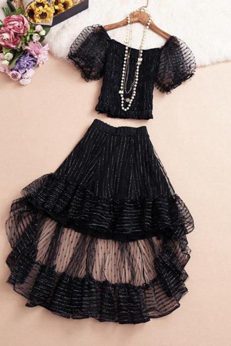 Cute two pieces dress high low dress