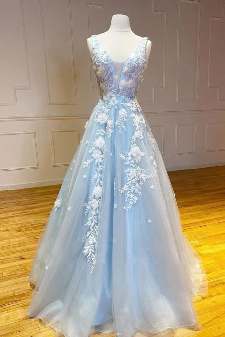 Blue v neck tulle lace long prom dress blue lace evening dress
