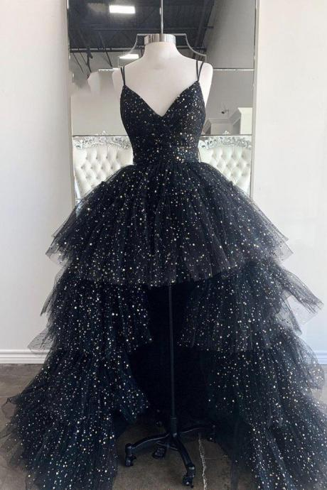 Black v neck tulle long prom dress black evening dress
