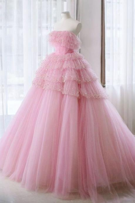 Pink tulle lace long prom dress pink tulle evening dress