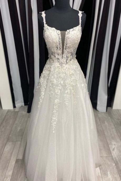 White tulle lace long prom dress white tulle formal dress