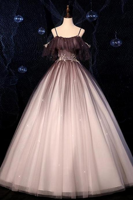 Stylish tulle long A line prom dress formal dress