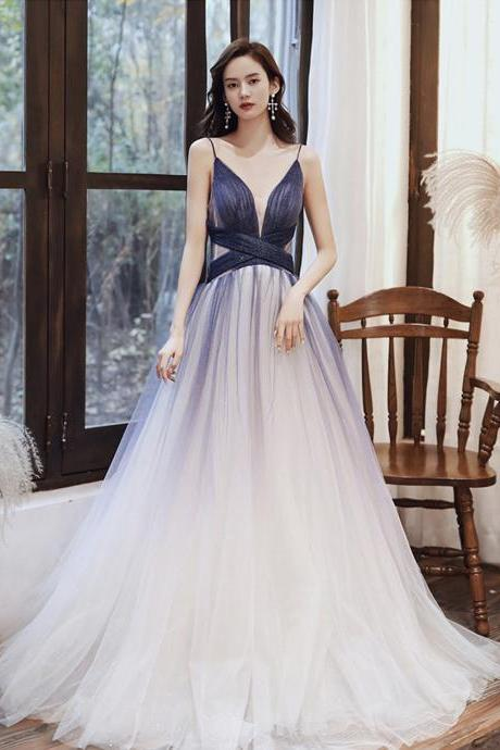 Stylish v neck tulle long A line prom dress blue evening dress