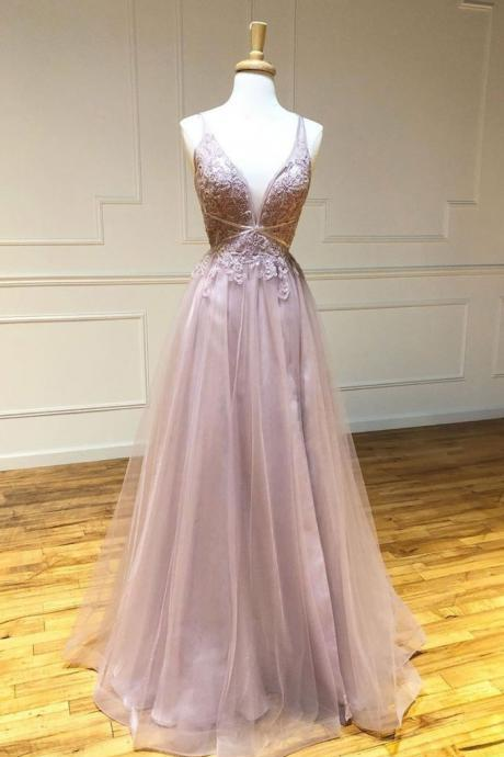 Pink v neck tulle lace long prom dress pink lace evening dress