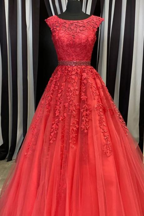 Red round neck tulle lace long prom dress red evening dress