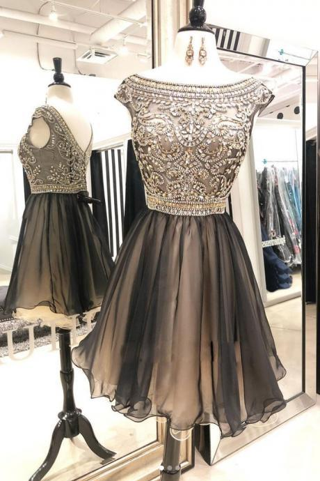 Unique round neck beads tulle short prom dress, tulle homecoming dress