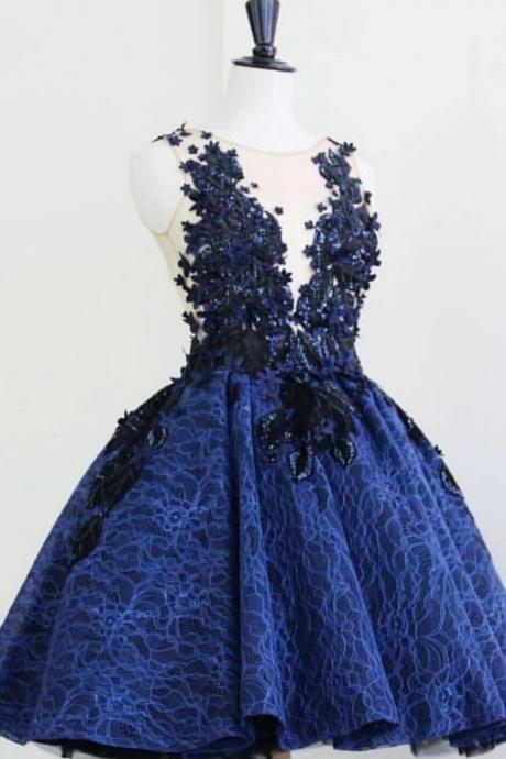 Blue round neck lace short prom dress, blue lace evening dress