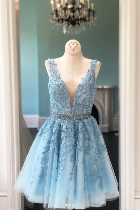 Blue v neck lace tulle short prom dress, blue homecoming dress