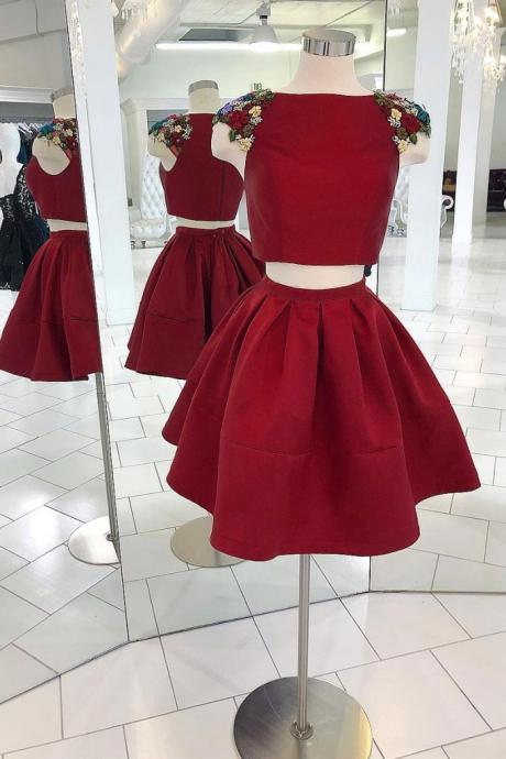 Burgundy two pieces satin short prom dress, burgundy homecoming dress