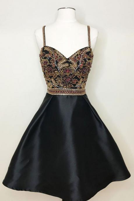 Cute sweetheart neck black beads short prom dress, homecoming dress