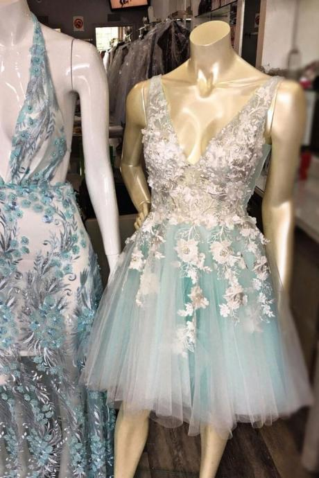 Blue v neck tulle lace short prom dress, blue tulle homecoming dress