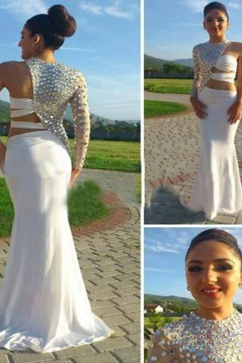 White Prom Dresses,Beaded Evening Dress,One Shoulder Prom Dresses,Beading Prom Dresses,2016 Prom Gown,Elegant Prom Dress,Mermaid Formal Gowns for Teens Prom