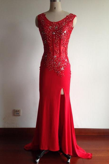 2016 Fashion Prom Dresses,Red Prom Dress,Slit Formal Gown,Red Prom Dresses,Beaded Evening Gowns,Sexy Formal Gown For Teens
