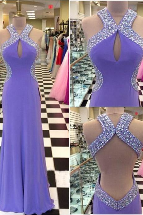 Light Grape Prom Dresses,Backless Prom Dress,Chiffon Prom Dress,Halter Prom Dresses,2016 Formal Gown,Open Back Evening Gowns,Open Backs Party Dress,Prom Gown For Teens