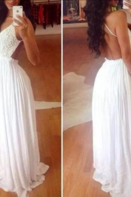 White Wedding Dresses,Long Wedding Gown,Chiffon Wedding Gowns,Simple Bridal Dress,Lace Wedding Dress,Elegant Brides Dress,Backless Wedding Gowns
