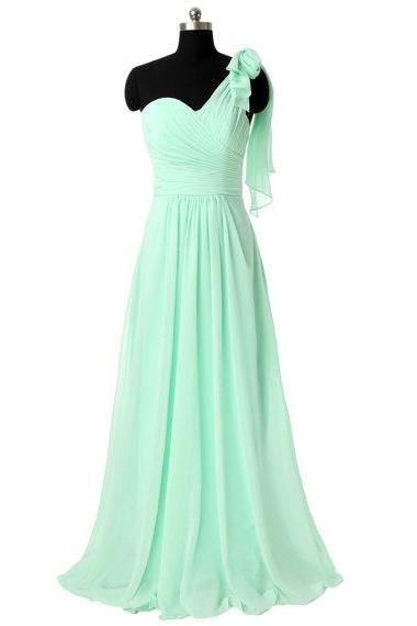 One Shoulder Bridesmaid Gown,Pretty Prom Dresses,Chiffon Prom Gown,Simple Bridesmaid Dress,Cheap Evening Dresses,Fall Wedding Gowns,Mint Bridesmaid Dresses