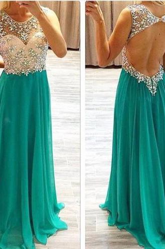 Light Green Prom Dresses,Beading Evening Gowns,Modest Formal Dress,Beaded Prom Dresses,2016 Fashion Evening Gown,Backless Evening Gowns,Open Back Party Dress