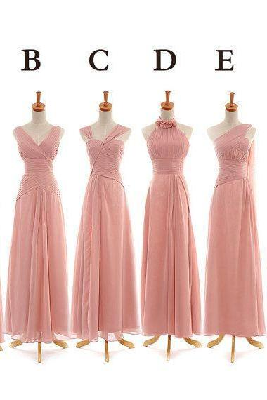 Pink Bridesmaid Gown,Pretty Prom Dresses,Chiffon Prom Gown,One Shoulder Bridesmaid Dress,Cheap Bridesmaid Dresses,Sweetheart Bridesmaid Gowns