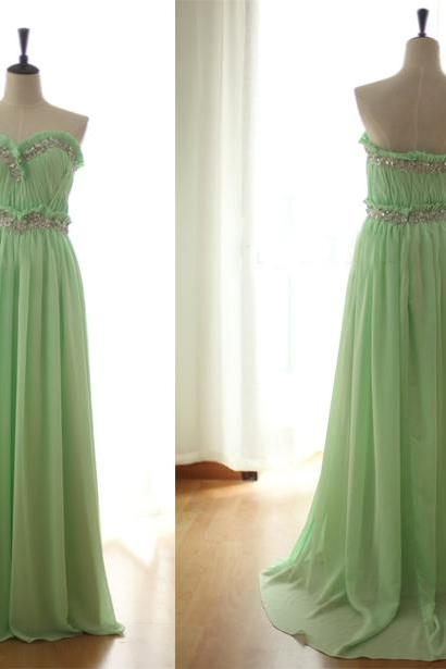 Sage Prom Dresses,Beading Evening Gowns,Modest Formal Dress,Beaded Prom Dresses,2016 Fashion Evening Gown,Long Evening Gowns,Chiffon Party Dress