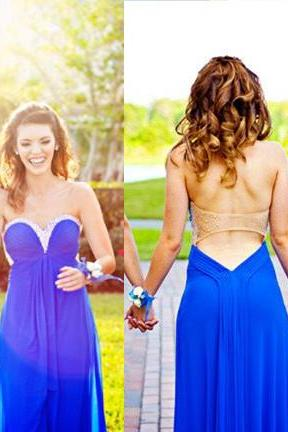 Backless Prom Dresses,Royal Blue Prom Dress,Open Back Formal Gown,Open Backs Prom Dresses,Sweetheart Evening Gowns,Chiffon Formal Gown For Senior Teens