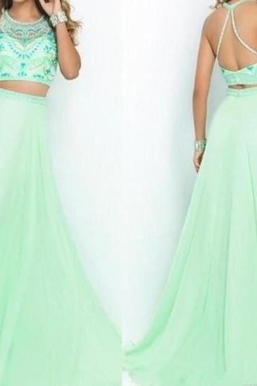 Beaded Prom Dresses,Beading Prom Dress,Mint Green Prom Gown,2 Pieces Prom Gowns,Elegant Evening Dress,A Line Evening Gowns,2 Piece Evening Gowns,Simple Prom Dress