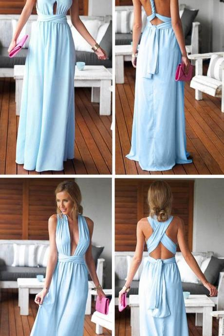 Bridesmaid Gown,Pretty Blue Prom Dresses,Chiffon Prom Gown,Simple Bridesmaid Dress,Cheap Evening Dresses,Fall Wedding Gowns,Backless Bridesmaid Gowns