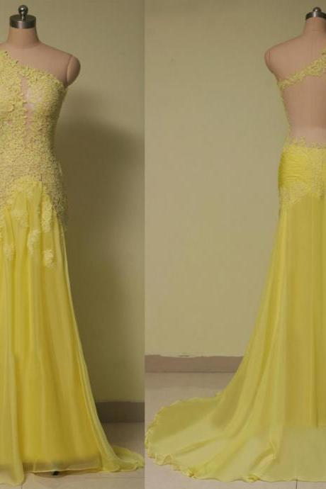 One Shoulder Prom Dresses,Lace Evening Dress,Chiffon Prom Dress,Yellow Prom Dresses,Backless Prom Gown,Long Sleeves Prom Dress,Fashion Evening Gowns for Teen Prom