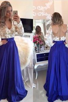 Royal Blue rom Dress,Ball Gown Prom Dress,White Lace Prom Gown,Backless Prom Dresses,Sexy Evening Gowns,New Fashion Evening Gown,Long Sleeves Party Dress For Teens
