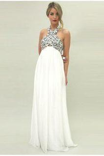 White Prom Dresses,Chiffon Evening Dress,Pregnant Prom Dress,Halter Prom Dresses,Beading Prom Gown,Pregnant Prom Dress,White Evening Gowns for Teens