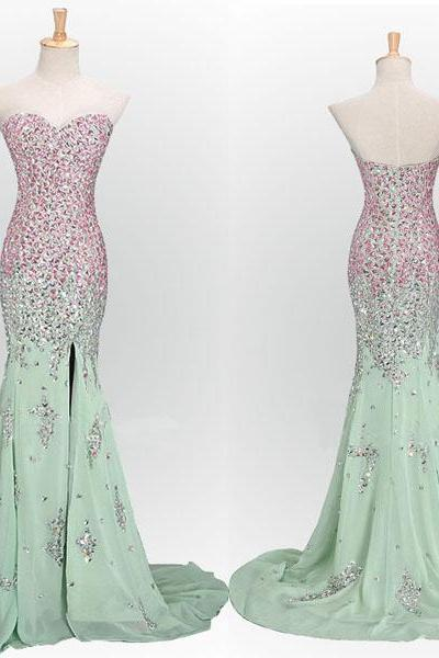 Mint Green Prom Dresses,Mermaid Evening Dresses,Slit Prom Gowns,Elegant Prom Dress,Split Prom Dresses,Pink Evening Gowns,Sparkle Formal Dress