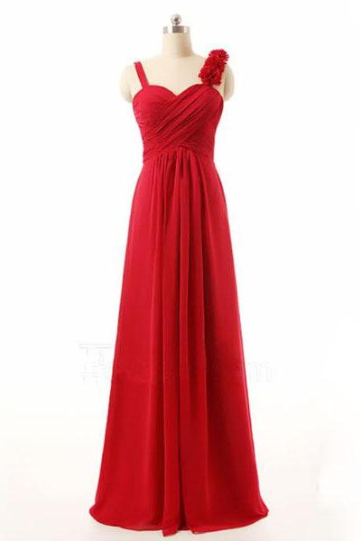 Red Bridesmaid Gown,Pretty Prom Dresses,Chiffon Prom Gown,Simple Bridesmaid Dress,Cheap Evening Dresses,Fall Wedding Gowns,Red Bridesmaid Dresses
