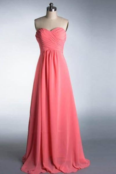 Pink Chiffon Ruched Sweetheart Floor Length A-Line Bridesmaid Dress, Formal Dress