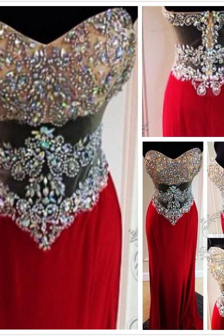 Red Prom Dresses,Sweetheart Prom Dress,Modest Evening Gown,Sparkly Prom Gowns,Beading Evening Dress,Sparkle Evening Gowns,Red Prom Gowns