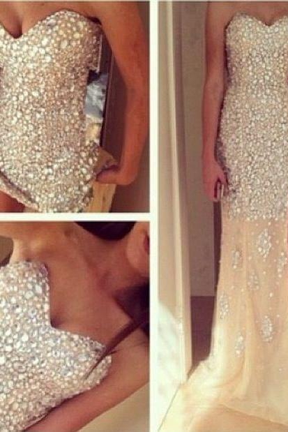 Mermaid Long Prom Dresses,Champagne Prom Gowns,Beading Prom Dresses 2016, Party Dresses 2016,Prom Gown,Prom Dress,Sexy Evening Dresses