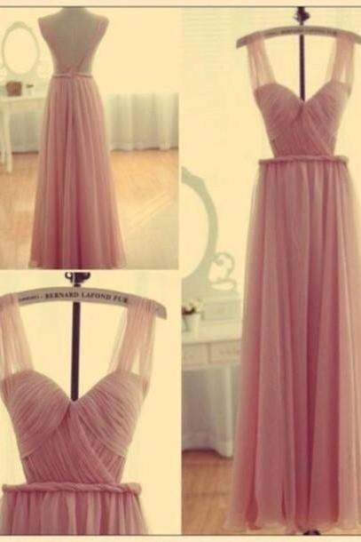 Pink Bridesmaid Gown,Backless Prom Dresses,Chiffon Prom Gown,Simple Bridesmaid Dress,Cheap Evening Dresses,Fall Wedding Gowns,Straps Bridesmaid Dresses,Bridesmaid Gown For Weddings