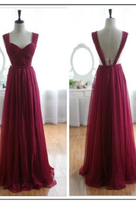 Backless Bridesmaid Gown,Burgundy Prom Dress,Chiffon Prom Gown,Simple Bridesmaid Dress,Cheap Evening Dresses,Wine Red Bridesmaid Dresses,Straps Bridesmaid Gown For Weddings