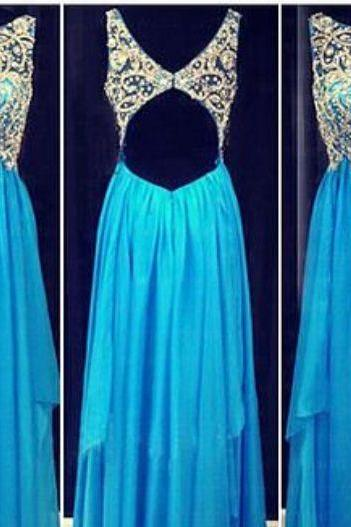 Blue Prom Dresses,2016 Evening Dresses,Backless Prom Gowns,Elegant Prom Dress,Backless Prom Dresses,Chiffon Evening Gowns,Open Backs Formal Dress