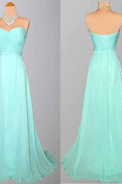 Mint Green Bridesmaid Gown,Pretty Prom Dresses,Chiffon Prom Gown,Simple Bridesmaid Dress,Cheap Evening Dresses,Fall Wedding Gowns,Mint Bridesmaid Dresses,Sweetheart Bridesmaid Gown