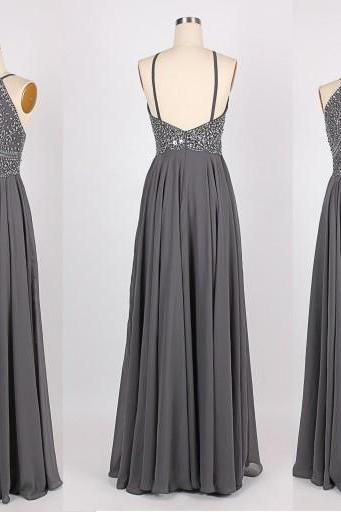 Sexy Prom Dresses,Spaghetti Straps Evening Dresses,New Fashion Prom Gowns,Elegant Prom Dress,Princess Prom Dresses,Chiffon Evening Gowns,Gray Formal Dress,Grey Evening Gown