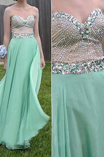 Mint Prom Dresses,A-Line Prom Dress,Beading Prom Dress,Sweetheart Prom Dress,Chiffon Prom Dress,Beading Evening Gowns,Blue Party Gowns For Teens