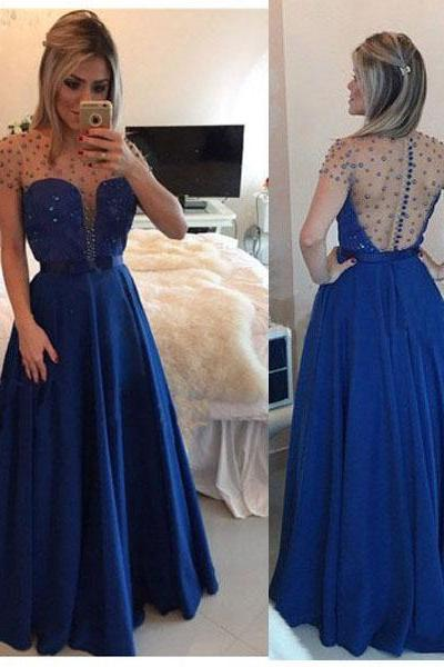 Tulle Prom Dresses,Royal Blue Prom Dress,Modest Prom Gown,Chiffon Prom Gowns,Beading Evening Dress,Princess Evening Gowns,Sparkly Party Gowns,Backless Prom Gowns,Open Back Evening Dress